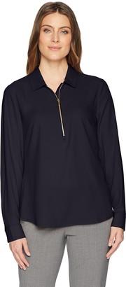 Lark & Ro Women's Loose Fit Half-Zip Popover Shirt