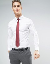 Asos Skinny Shirt In White With Burgundy Tie SAVE