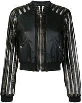 Just Cavalli striped sheer panel bomber jacket