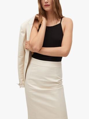 MANGO Cotton Blend Pencil Skirt