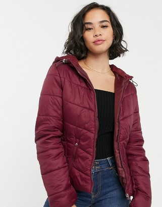 Bershka lightweight puffer jacket in burgundy-Red