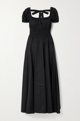 La Ligne Amour Open-back Shirred Cotton-poplin Maxi Dress - Black