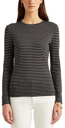 Lauren Ralph Lauren Metallic-Stripe Jersey Top (Lauren Navy/Gold) Women's Clothing