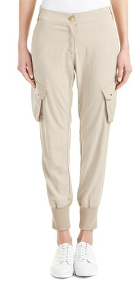 James Jeans Women's Boyfriend Slim Slouch Utility Cargo Pant in Sand Chino