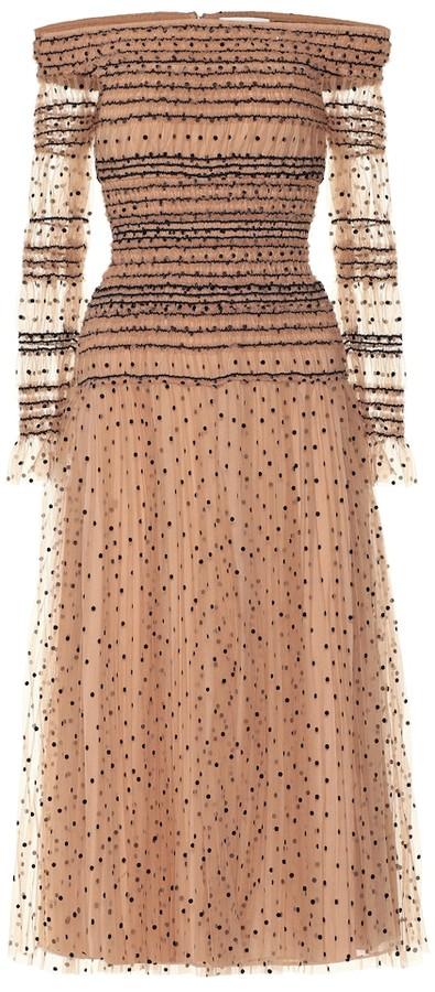 Self-Portrait Polka-dot tulle dress