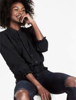 Lucky Brand Black Denim Shirt With Pintucks