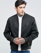Fred Perry Bomber Jacket With Tiping In Dark Racing Green