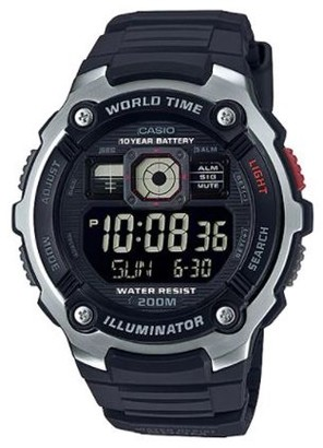 Casio Men's World Time Watch, All Black Dial and Resin Strap - AE2000W-1BV