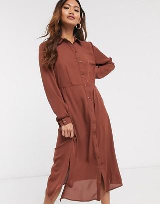 JDY midi shirt dress in cinnamon