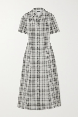 ALEXACHUNG Checked Seersucker Midi Shirt Dress