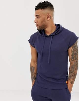 Calvin Klein Monogram mesh sleeveless muscle hoodie in navy