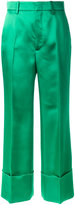 Gucci Duchesse wide leg cuffed trousers - women - Silk/Acetate - 44