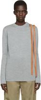 Loewe Grey Leather Straps Sweater