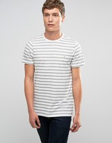 Farah T-Shirt With Breton Stripe In Slim Fit Ecru