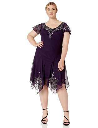 J Kara Women's Plus Size V-Neck Hanky Hem Short Dress