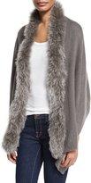 Adrienne Landau Fox Fur-Trim Knit Wrap, Dark Gray
