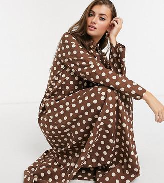Verona high neck maxi shirt dress in chocolate spot