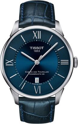 Tissot Chemin Des Tourellles Automatic Leather Strap Watch, 42mm