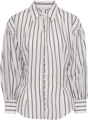 Joie Minya Gathered Striped Cotton-blend Shirt