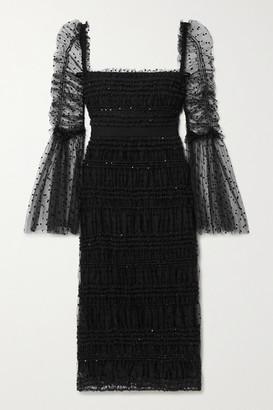Self-Portrait Ruched Sequin-embellished Polka-dot Flocked Tulle Midi Dress - Black