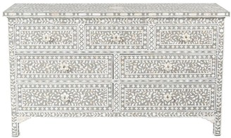 Mother of Pearl Jamelia Inlay 7 Drawer Chest Floral Grey