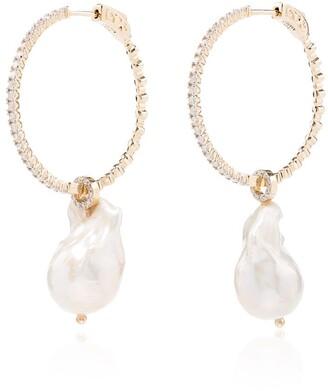 Mateo 14kt Gold Pearl Diamond Hoop Earrings