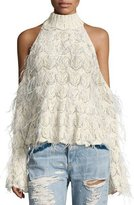 Jonathan Simkhai Sparkle Knit Feathered Cold-Shoulder Turtleneck Sweater