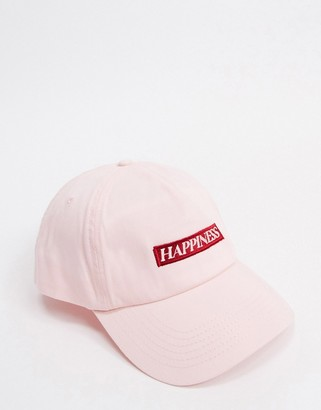 ASOS DESIGN baseball cap with happiness logo in light pink