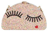 Milly Eyelash Glitter Half Moon Clutch - Metallic