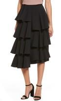 Moon River Women's Tiered Ruffle Midi Skirt