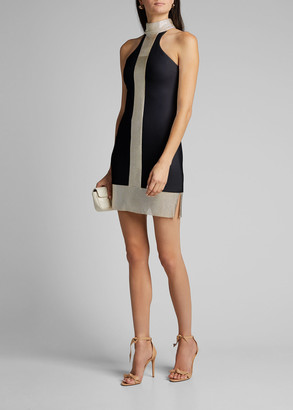 CDGNY Mock-Neck Mini Cocktail Dress w/ Chainmail Center