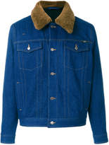 Ami Alexandre Mattiussi denim jacket with shearling collar