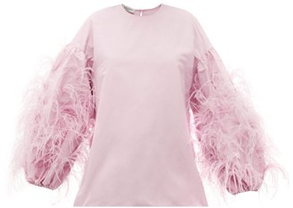 Valentino Feather-trim Cotton-blend Faille Blouse - Light Pink