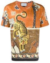 Gucci Tiger Print Linen Jersey T-shirt