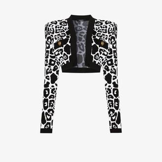 Balmain X Browns 50 leopard print cropped cardigan
