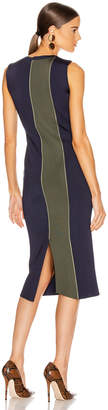 Victoria Beckham Colorblock Sleeveless Fitted Dress in Navy & Khaki | FWRD