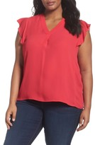 Sejour Plus Size Women's Flutter Sleeve V-Neck Top