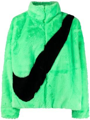 Nike Signature Swoosh Logo-Print Faux-Fur Jacket