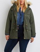 Charlotte Russe Plus Size Faux Fur Hooded Anorak Jacket