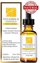 100% Natural & Organic Vitamin E Oil For Your Face & Skin - 15000 IU - Reduces Wrinkles & Lightens Dark Spots. Mixed With Jojoba, Avocado & Rice Bran Oils. Liquid D Alpha Tocopherol Serum. No Soy.