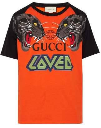 Gucci Oversized Tiger And Logo-print T-shirt - Mens - Orange