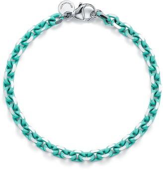 Tiffany & Co. Bracelet chain in sterling silver with Blue enamel finish, medium