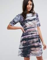 Lavand Strutured Printed Skater Dress
