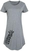Instant Message Women's Women's Tee Shirt Dresses HEATHER - Heather Gray Giraffe Short-Sleeve Dress - Women & Plus