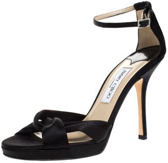 Jimmy Choo Black Satin Macy Ankle strap Sandals Size 39