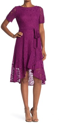 Gabby Skye Lace Short Sleeve Faux Wrap Midi Dress