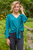 Abbeline Ruffle Sleeve Tie Front Blouse Green XS