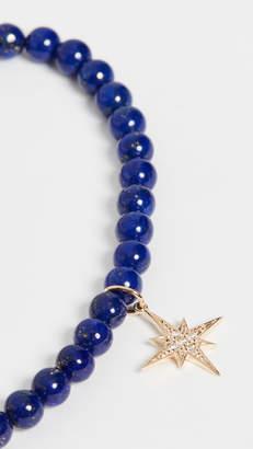 Sydney Evan 14k Gold Lapis Beaded Starburst Charm Bracelet