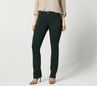 JEN7 by 7 For All Mankind Slim Straight SateenPants - Forest