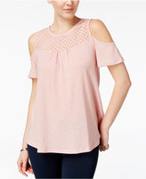 Ultra Flirt Juniors' Crochet-Trim Cold-Shoulder Top